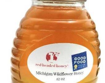 Natural Michigan Wildflower Honey in 12 oz glass hive jar.