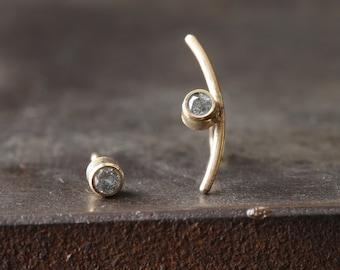 Arc Diamond Stud Earrings