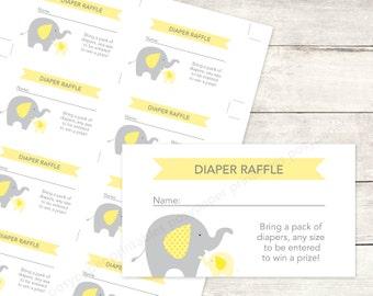 baby shower diaper raffle tickets printable DIY elephants yellow grey cute baby digital shower games - INSTANT DOWNLOAD