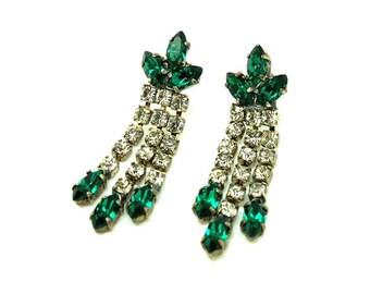 Chandelier earrings vintage etsy uk vintage 1950s earrings emerald 1950s earrings diamante pieced earrings chandelier earrings floral mozeypictures Gallery
