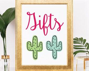 Kaktus Geburtstag Partytisch Zeichen - anpassbare Text und Farben - Fiesta Thema - Printable - 8.5 x 11 digitaler Download