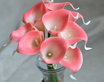 Pink Coral Calla Lilies Stems Real Touch Flowers DIY Wedding Bouquets Coral Silk Bridal Bouquets Wedding Centerpieces