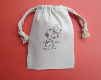 Snoopy Muslin Bags /  set of 10 / Great For Birthdays