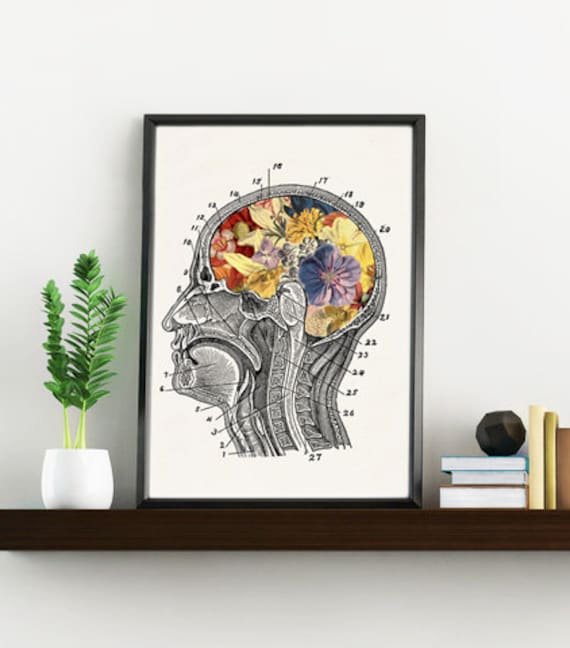 Flowery Brain- Doctors gift art Print- A4 Wall art Human anatomy print- Chic Science prints wall art flowers art SKA053WA4