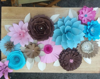 Paper flowers, 1 dozen (12) paper flowers, medium paper flowers 4-8in, party decor, nursery decor, wedding decor, baby wall decor, custom