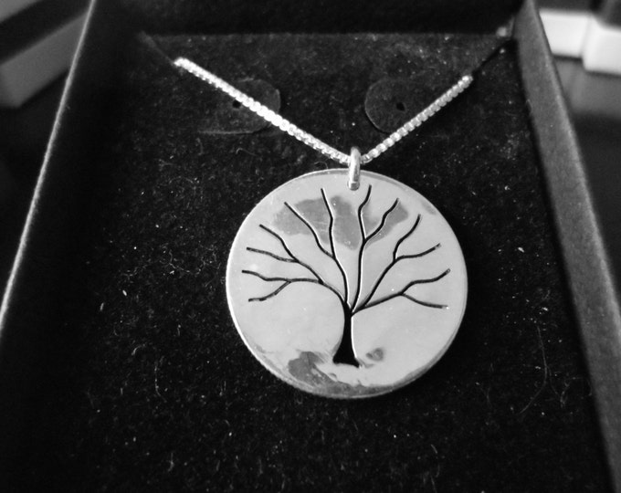 """Tree of Life Dime size w/18"""" sterling silver chain"""