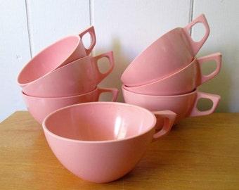 7 vintage pink melmac cups