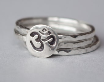 Ohm Ring , Sterling silver Om Ring , Om ring , Sterling silver ring , custom , Yoga ring, Ahm ring , Stackable ring , Ohm stamped ring
