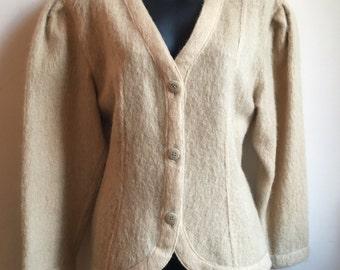 Vintage Mohair Cardigan | Bohemian Cardigan | 60s 70s Style Sweater | ANNE HALL Label | Camel Cardigan | Tan Winter Cardigan | Minimalist