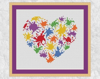 Splattered paint heart cross stitch pattern, modern rainbow design, Valentine's Day, paint splats, watercolour effect, abstract, easy PDF