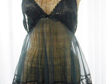 70s Babydoll Nightgown Sheer Chiffon California Chic Lingerie Med