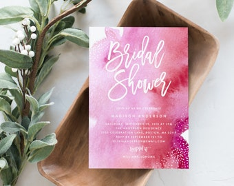 Editable Template- Instant Download Pink Watercolor Bridal Shower Invitation