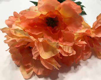 5 large bloom peach color poppy boquet, 13 inch long