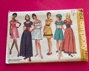 Vintage Simplicity Pattern 9164 Misses Dress intwo Lengths & Scarf Size 10 Bust 32.5