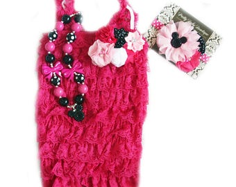 Girls First Birthday Outfits Minnie Hot Pink Fuchsia and Black Mouse Headband Baby Romper Necklace SET, Cake Smash Set, 1st Birthday Photos