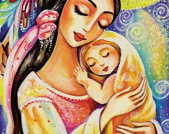 """Beautiful eastern mother and baby wall art print, tree of life, room decor, 7x12""""+"""