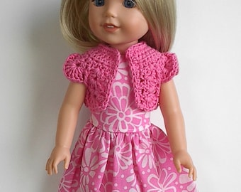 "14"" Doll Clothes Sleeveless Cotton Dress with Pink Flowers and Crocheted Pink Bolero Handmade to fit 14.5"" Wellie Wishers and Other Dolls"