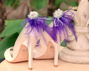 Shoe Clips Royal Purple Feathers & Silver Sequins. Bride Bridal Bridesmaid Gift. More: Ivory White Blue Red Yellow Orange, Boudoir Burlesque