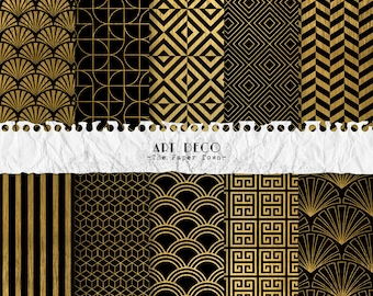 Black and Gold Art Deco Digital Scrapbook Papers  - 10 Great Gatsby Retro Patterns Digital Layouts - (300dpi 12x12 - JPG) Instant Download