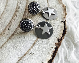 Dangle star earrings with marcasite crystals silver star and gunmetal coin