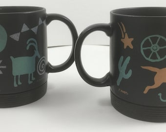 Pair of Vintage P Moats Wild West and Mustang Ceramic Coffee Mugs