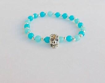 Sugar Skull Bracelet, Sugar Skull Jewelry, dia de los muertos, day of the dead, silver skull, Antique Skeleton, stacking bracelets, gift her