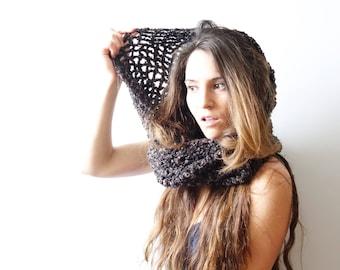 Brown Mesh Crochet Infinity Twist Cowl, Womens Hooded Wrap, shades of brown, crochet scarf
