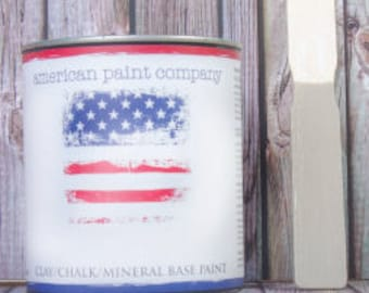 Sackcloth darker tan color American Paint Company APC chalk clay paint DIY quart furniture distress shabby chic qt