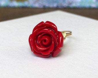 NEW STYLE Red Rose Ring   Red Flower Ring   Red Rose Flower Ring   Red Flower Jewelry   Beauty and the Beast Ring   Belle Ring Gift