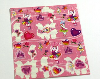 1 partial sheet of Lisa Frank Ballerina Bunnies Stickers - Vintage 1990s stickers