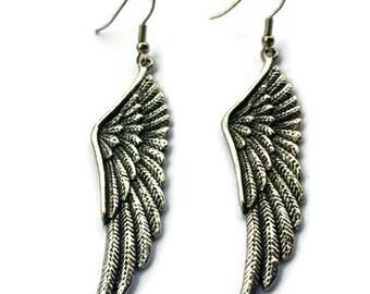 Wing Earrings - Silver Wing Earrings - Long Silver Earrings - Long Dangle Earrings - Silver Dangle Earrings - Silver Earrings