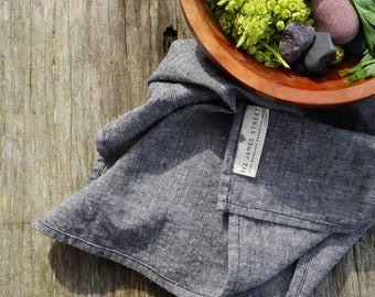 organic cloth napkins. black chambray. set of 2/4/8. organic cotton. hemp. wabi sabi linen. sustainable.  zero waste kitchen. modern napkins