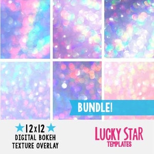 Digital Bokeh Paper Pack Photography Texture Overlay 12x12 Background Cotton Candy Iridescent Opal Holographic  Photoshop TB1005
