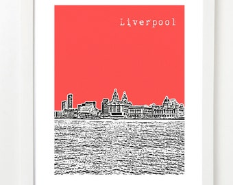 Liverpool, England Poster - Liverpool City Skyline Series Art Print  - Liverpool United Kingdom -