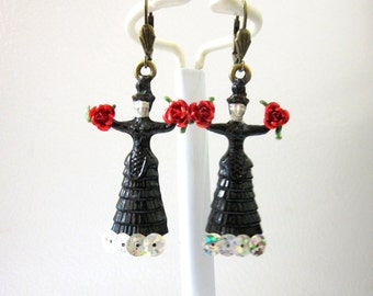 Frida Kahlo Earrings Day of the Dead Jewelry Black Dress Red Roses