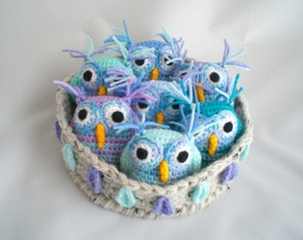 Crochet Owls / Amigurumi Owls /  Seven Owls in Nest / Nest of Owls / Nesting Owls / Owl Plushies / Owl Soft Toy /  Owls in a Nest.