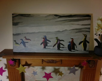 Walking Penguins canvas print 100 cm x 50 cm
