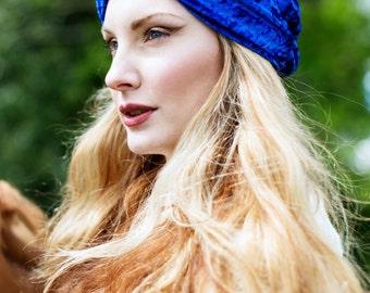 Royal Blue Velvet Turban Headband, Royal Blue Headband, Crushed Velvet Headwrap, Boho Turband Headband