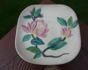 Red Wing Pottery, Bloosom Time Pattern, Square Saucer, Circa 1940s