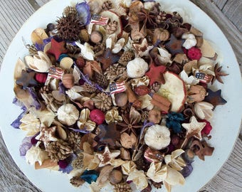 Stars and Stripes Americana Potpourri, Flag, Star, Scented,Rustic,Saltdough,Red, White, Blue,Patriotic,4th of July,Refresher Oil Included