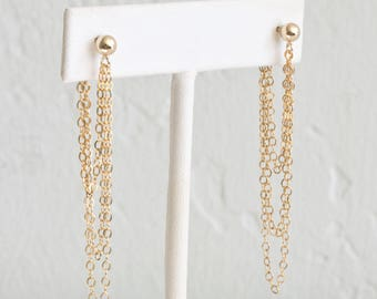 Gold Chain Drop Earrings, Dainty Chain Earrings, Long Dangle Earrings for Women, Sterling Silver, 14k Gold Fill, LEILAJewelryshop, E205