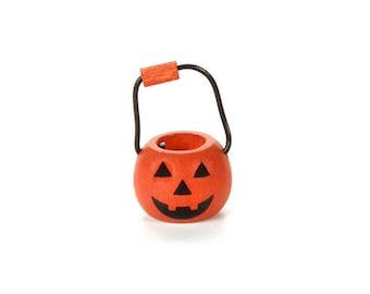 Miniature Pumpkin Bucket ~ Dollhouse Accessories ~ Halloween Treat Basket ~ Diorama ~ Fairy Garden ~