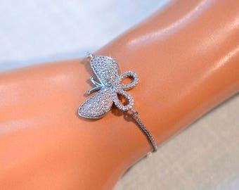 Handmade Micro Pave Cubic Zirconia CZ Butterfly Bolo Adjustable Bracelet, Bridal, Wedding (Sparkle-2820)