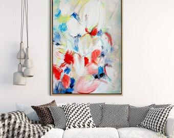 Abstract Canvas Print, Art Print, Giclee Print, Modern Art, Canvas Print, Original art, Contemporary Flowers, Abstract Flower, Red Pink Art