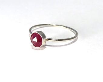 Ruby Ring, Sterling Silver Ruby Ring, Ruby stacking ring, July Birthstone Ring, July Gemstone Ring, Silver stacking ring, Gemstone stacking