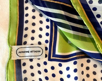 Lovely vintage Adrienne Vittadini silk scarf, vibrant colors, stripes and polka dots galore!
