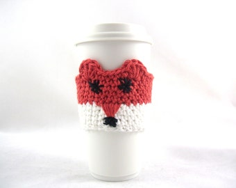 Crochet Fox coffee travel mug cup sleeve cozy, mug sweater, anniversary gift, valentines day token for her,graduation gifts