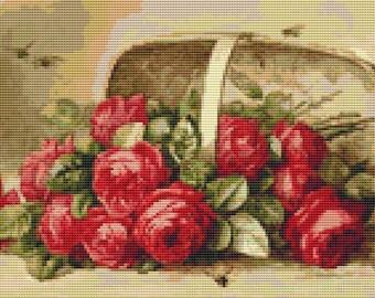 Rose Cross Stitch Chart, Basket of Roses Cross Stitch Pattern PDF, Art Cross Stitch, Floral Cross Stitch, Paul de Longpre