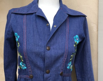Vintage Boho Embroidered Denim Jacket Copper Snap Up Shirt