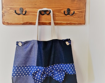 Denim Tote Bag, Handbag lined with Seasalt Fabric